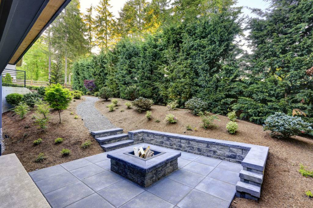 Patio in backgarden with pathway